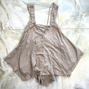 Taupe Strappy Lace Up Flowy Tank Top